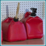 Gas cans in garage